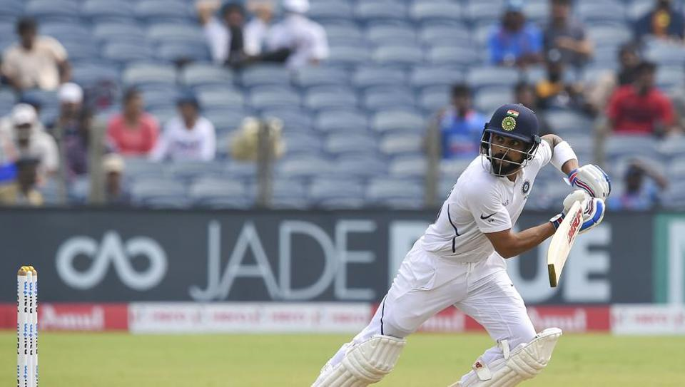 Indian cricket team Captain Virat Kohli plays a shot on the day 2 of second India-South Africa cricket test match, at Maharashtra Cricket Association Stadium in Pune, Friday, Oct. 11, 2019.