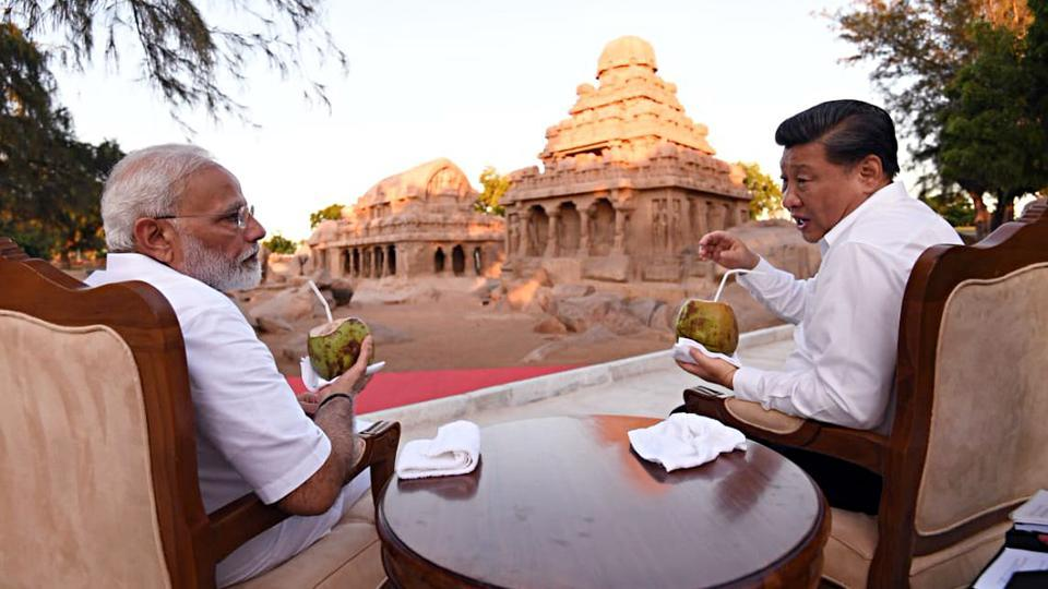 Prime Minister Narendra Modi and Chinese President Xi Jinping during the 2nd informal summit at the famous site of Pallava Era in Mahabalipuram on Friday.