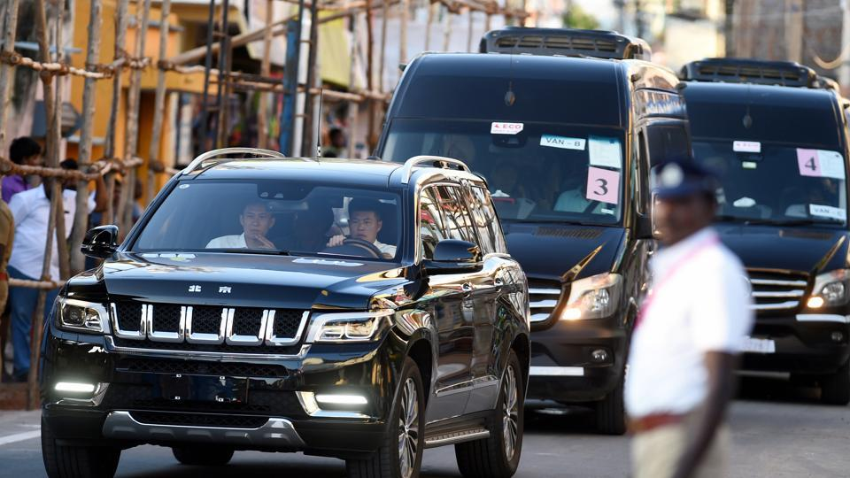 Convoy rehearsal of Chinese President Xi Jinping at the Mamallapuram heritage site.