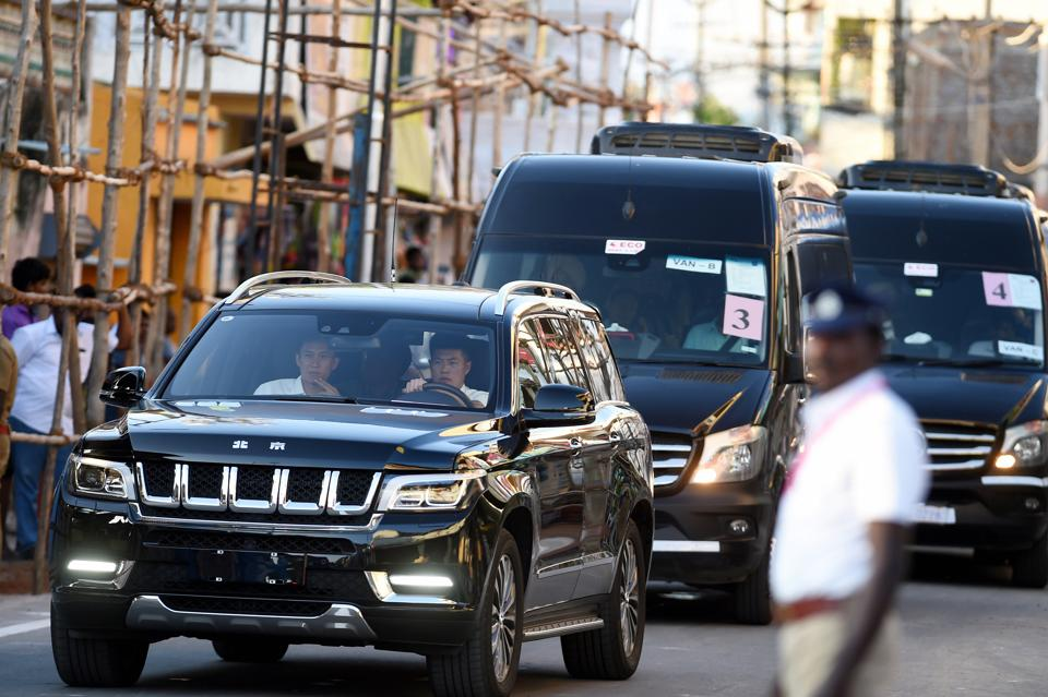 Convoy rehearsal of Chinese President Xi Jinping at the Mamallapuram heritage site, as part of the preparations for a day before the informal summit between Prime Minister Narendra Modi and Chinese President Xi Jinping, in Mamallapuram.