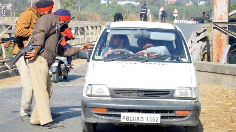 Punjab police undertaking search operation.