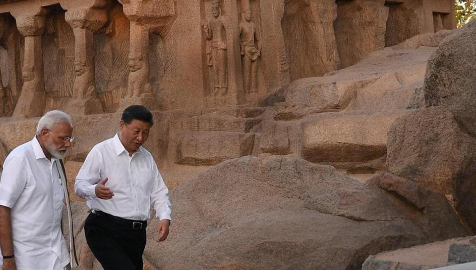 PM Narendra Modi and Chinese President Xi Jinping busy in discussions in Mamallapuram.