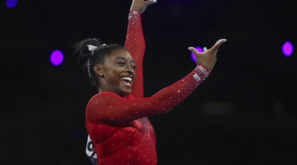 Simone Biles performs on the vault in the women's apparatus finals at the Gymnastics World Championships in Stuttgart, Germany.