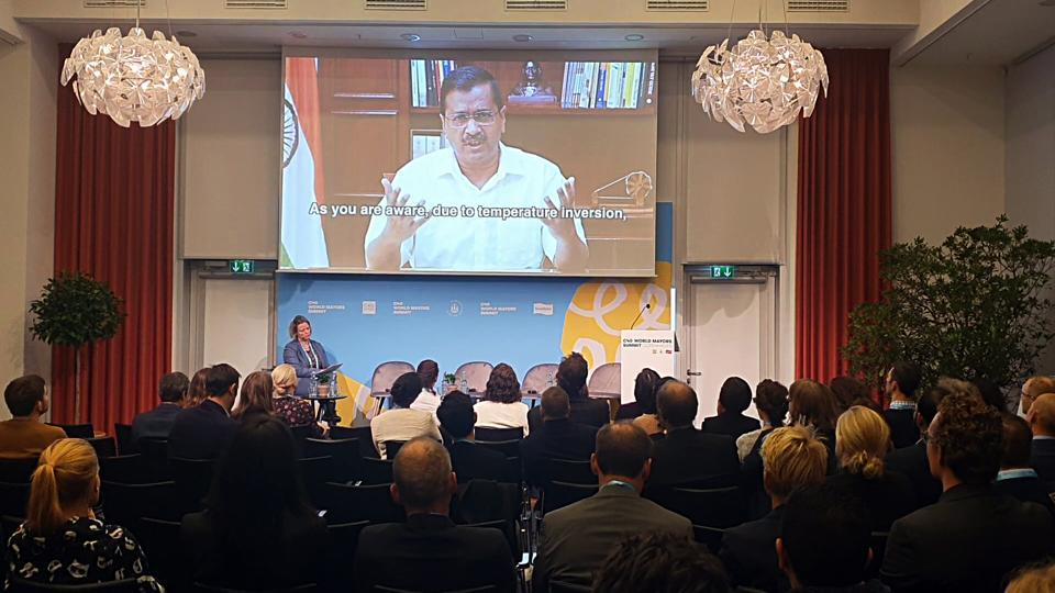 Chief Minister Arvind Kejriwal participates in the C40 Cities Summit at Copenhagen, Denmark over video conference, in New Delhi on Friday.