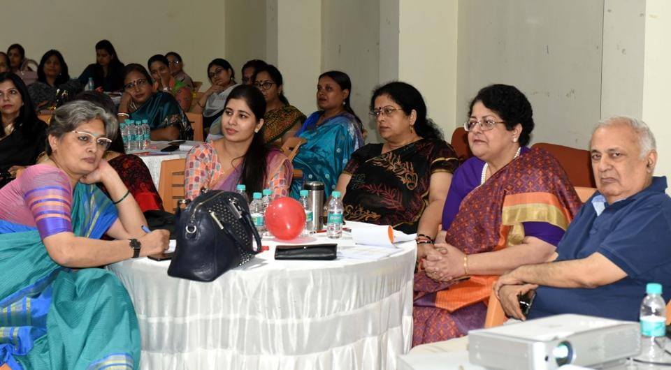Participants at 'Permanand', a workshop for creating 'positive psychology' at schools, organised in Lucknow on Saturday.