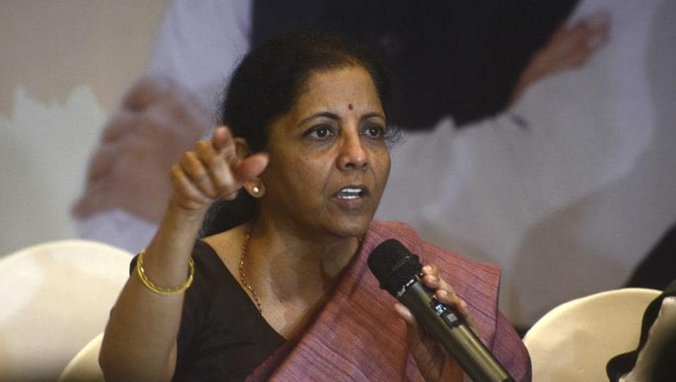 Finance minister Nirmala Sitharaman at a press conference in Pune, on Friday.