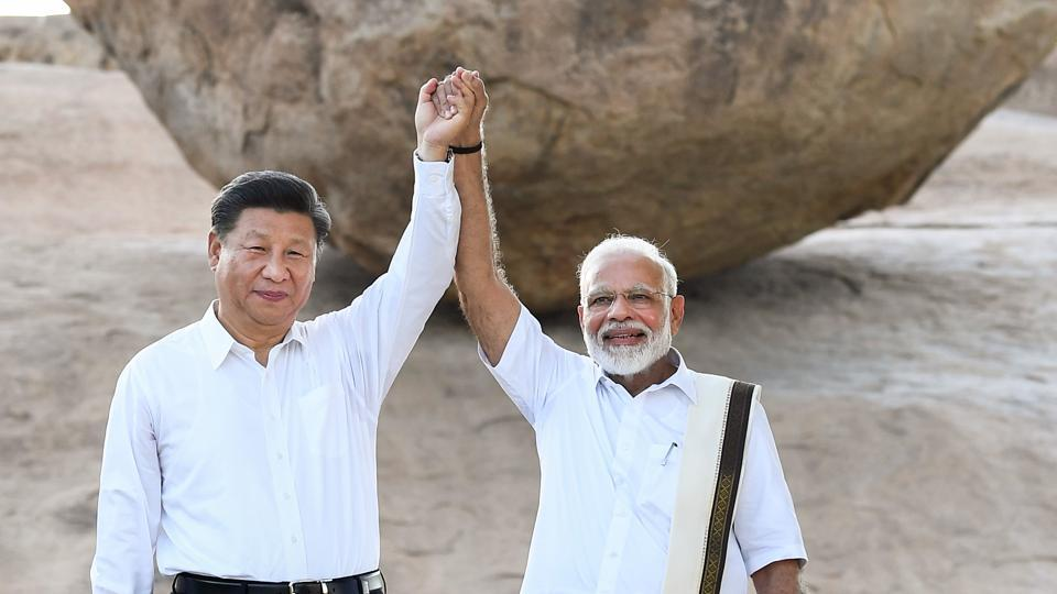 Prime Minister Narendra Modi with Chinese President Xi Jinping in Mamallapuram on Friday.