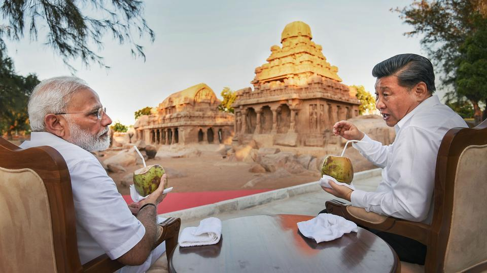 Prime Minister Narendra Modi with Chinese President Xi Jinping, in Mamallapuram