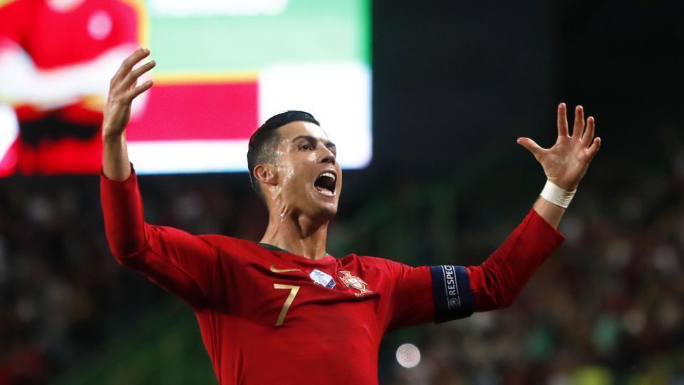 Portugal's Cristiano Ronaldo celebrates after scoring his side.