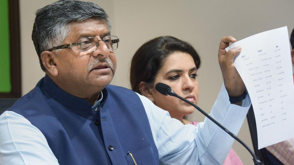 Union Minister Ravi Shankar Prasad interacts with media ahead of Assembly election at party headquarter in Mumbai, Saturday, Oct 12, 2019.