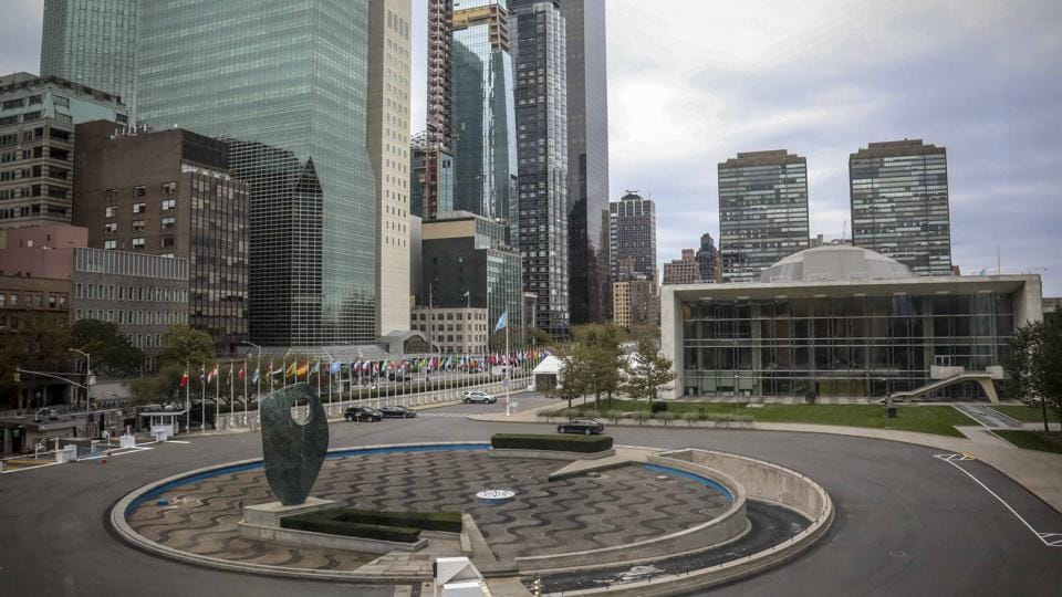 The United Nations headquarters iconic water fountain, constructed with funds donated by school children from across the United States in 1952, is currently off because of a cash crisis within the U.N., Friday Oct. 11, 2019. (AP Photo/Bebeto Matthews)