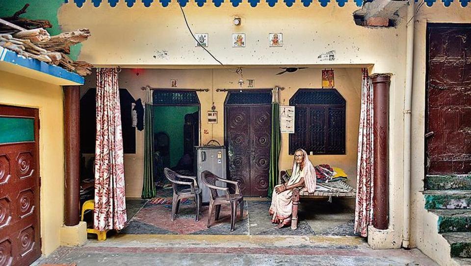 Phoolwati Devi , the grandmother of Ashwini Kashyap, at her residence in Bijnor.