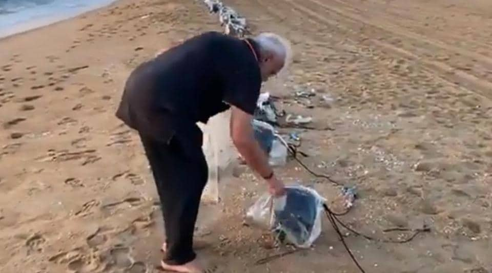 Prime Minister Narendra Modi went on a cleanliness drive on Mamallapuram beach in Tamil Nadu on Saturday morning to ensure public places are kept clean and tidy.