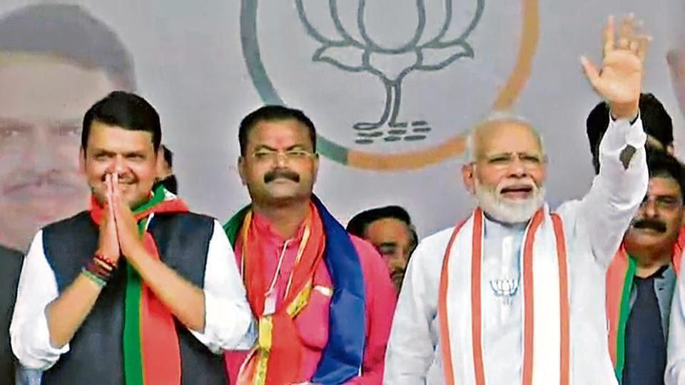 Prime Minister Narendra Modi along with Maharashtra Chief Minister Devendra Fadnavis during a public rally in Jalgaon.