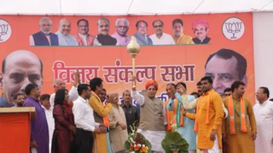 Defence Minister RajnathSingh at a BJP poll  rally in Haryana on October 13, 2019. ( Photo @rajnathsingh)