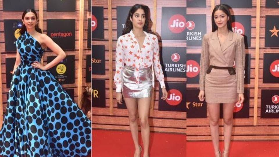 Deepika Padukone, Janhvi Kapoor and Ananya Panday at the launch of MAMI Mumbai Film Festival in Mumbai on Sunday.