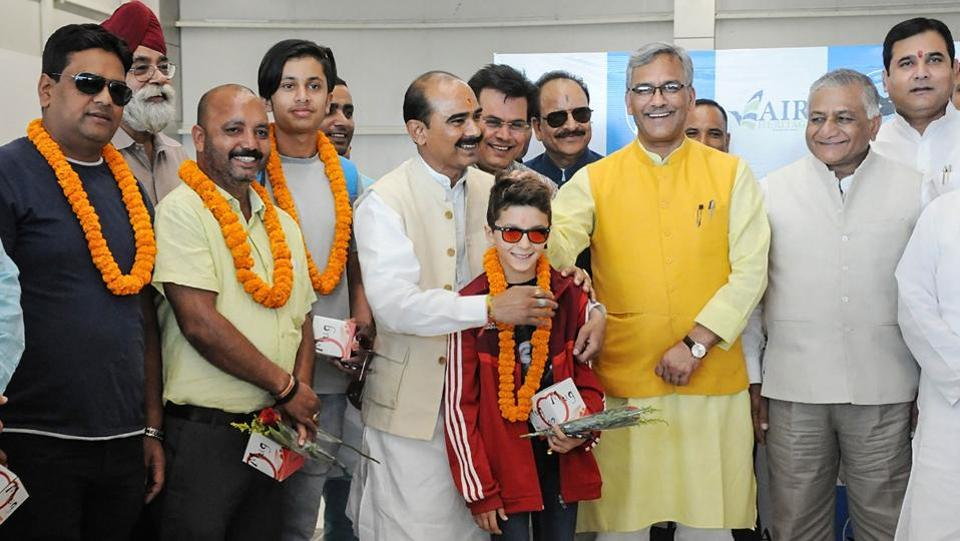 Uttarakhand Chief Minister Trivendra Singh Rawat during the launch of Hindon-Pithoragarh-Hindon air service at a brief function held at Hindon Airport in Ghaziabad, Uttar Pradesh. It is being seen as a boost to air connectivity between the border district of the hill state and the NCR. (PTI)