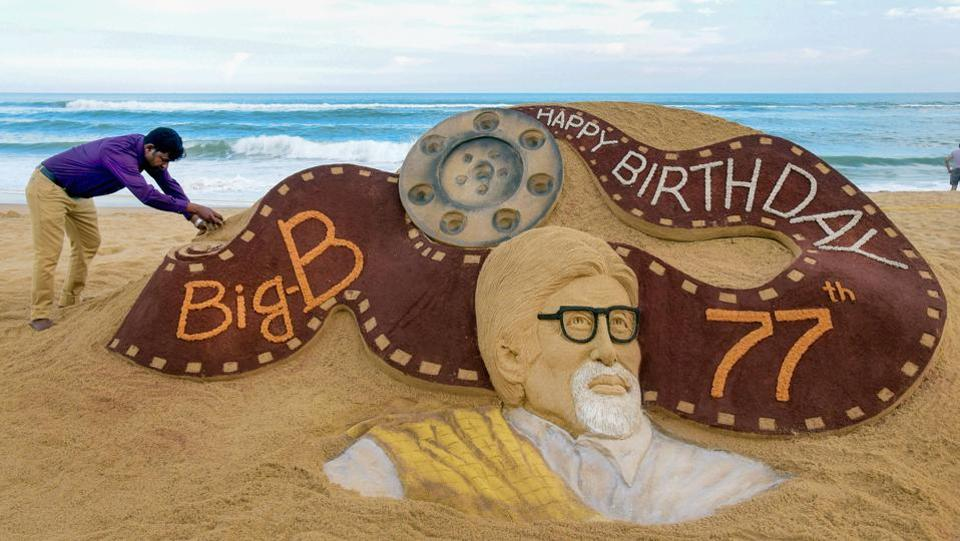 A view of a sand sculpture of Bollywood actor Amitabh Bachchan created by sand artist Sudarsan Patnaik on the eve of former's 77th birthday, in Puri, Odisha. (PTI)