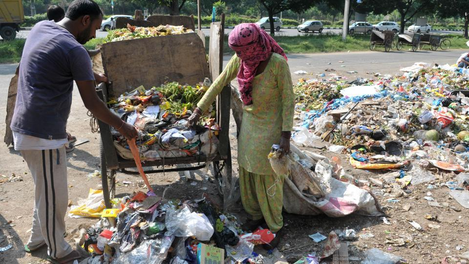 Though not all residents gave waste in a segregated form, the garbage collectors managed to keep it separated in their manual carts only to see it all get mixed up at the secondary collection points.