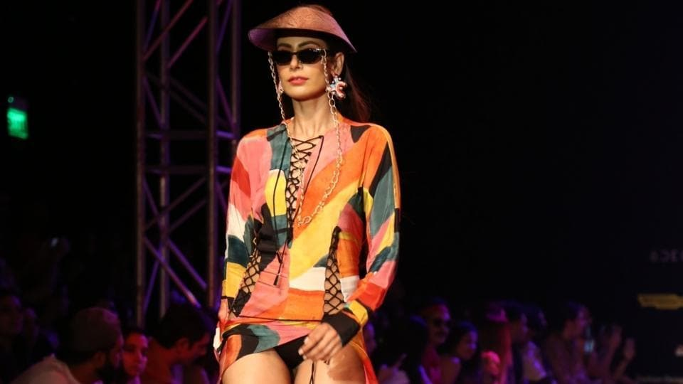 A model displays luxury holiday lifestyle wear. (IANS)