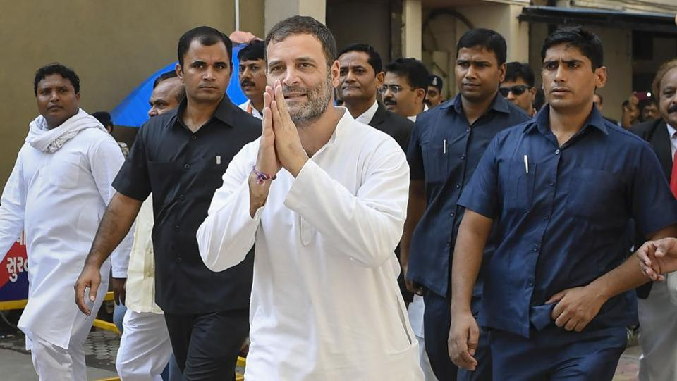 Former Congress President Rahul Gandhi at District and Session Court, in Surat, Gujarat. Gandhi appeared before a magisterial court and pleaded not guilty in a criminal defamation case filed against him for his