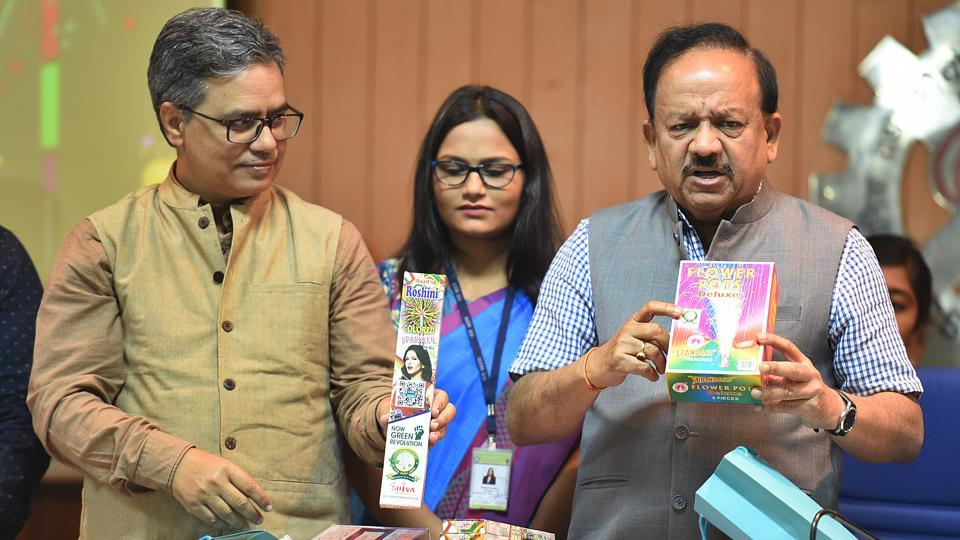 Minister of health and family welfare Harsh Vardhan launches green crackers, Anusandhan Bhavan, New Delhi, October 5, 2019