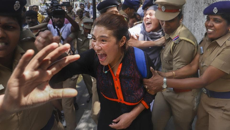Police detains Tibetan activists protesting outside the hotel where Chinese President Xi Jinping is scheduled to stay during his two-day informal summit with Prime Minister Narendra Modi, at Mamallapuram, in Chennai, Tamil Nadu. (PTI)