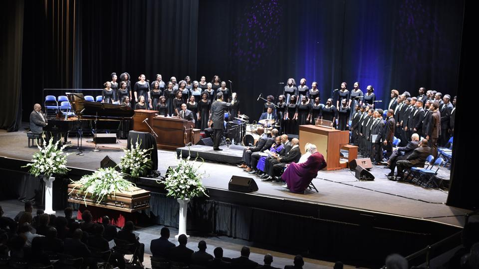 The combined glee clubs from Morehouse College and Spelman College perform during funeral services for opera star Jessye Norman at the William B. Bell Auditorium in Augusta, Ga.
