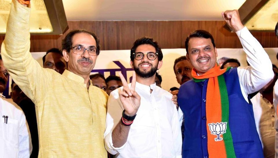 Shiv Sena chief Uddhav Thackeray, party leader Aaditya Thackeray and Maharashtra CM Devendra Fadnavis.