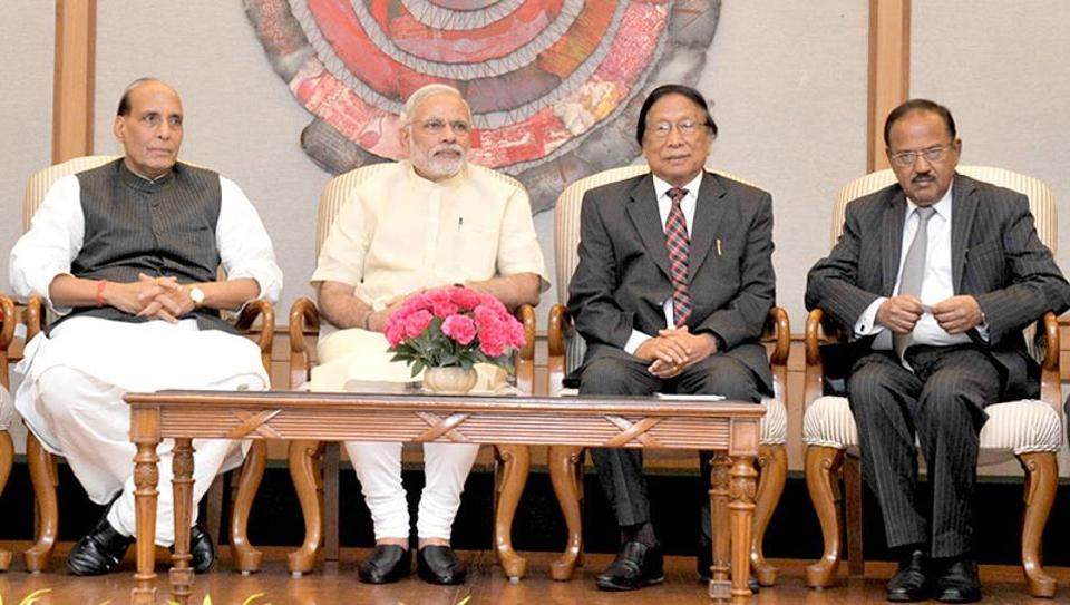 Prime Minister Narendra Modi along with then Union Home Minister Rajnath Singh with NSCN (IM) chief  Th Muivah at the signing of the framework agreement to solve the Naga political issue  in New Delhi in August 2015.