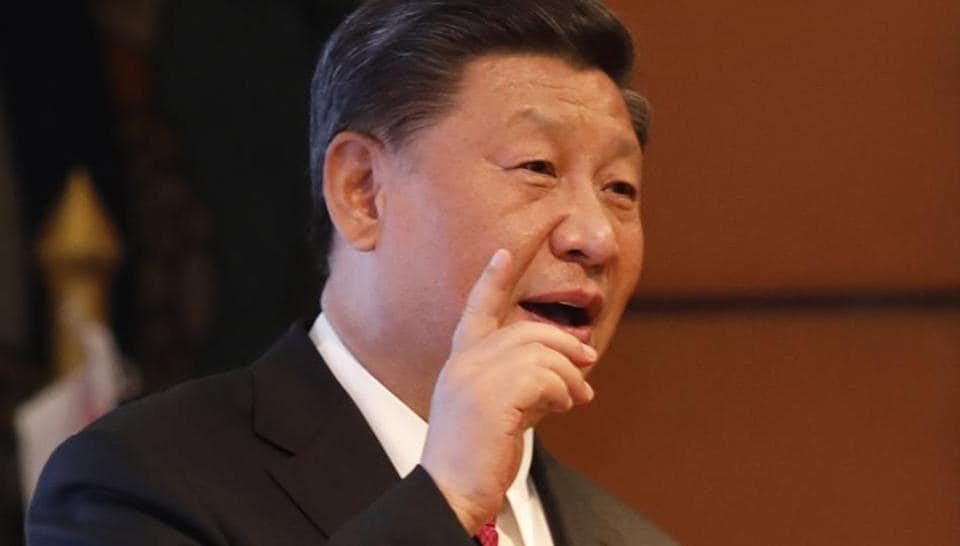 Chinese President Xi Jinping addresses a gathering at Soltee Hotel in Kathmandu, Nepal, Saturday, Oct. 12, 2019.