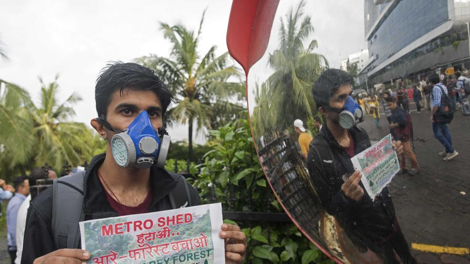 People protesting outside MMRCL office against building a making metro car shed inside Aarey Colony, Mumbai, September 13