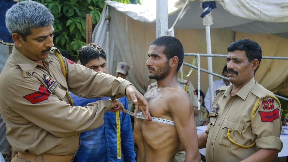 A youth undergoes physical tests for the post of SPO in State Disaster Response Force (SDRF), in Reasi district of Jammu, Jammu and Kashmir. (PTI)