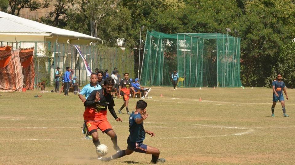 Participants during Football match at Rann-Neeti 2019.