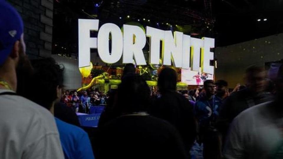 The Fortnite booth is shown at E3, the world's largest video game industry convention in Los Angeles, California.