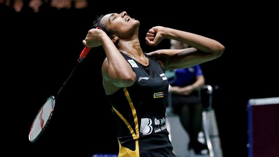 Pusarla Sindhu reacts during her final women's singles match against Japan's Nozomi Okuhara.