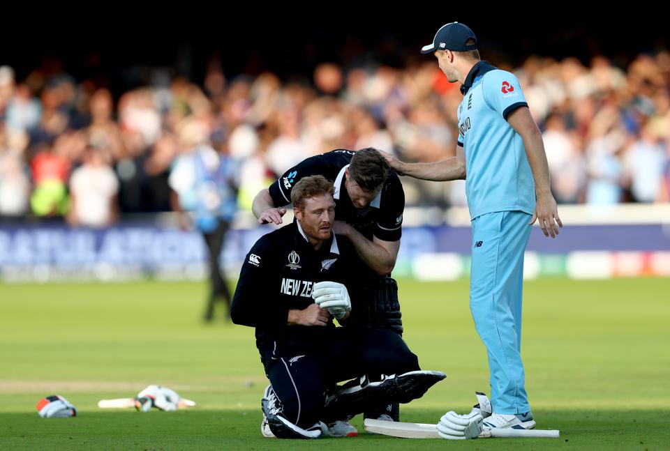 LONDON, ENGLAND - JULY 14: Martin Guptill of New Zealand reacts as he is run out on the final ball of the Super Over by Jos Buttler of England during the Final of the ICC Cricket World Cup 2019 between New Zealand and England at Lord's Cricket Ground on July 14, 2019 in London, England. (Photo by Michael Steele/Getty Images)