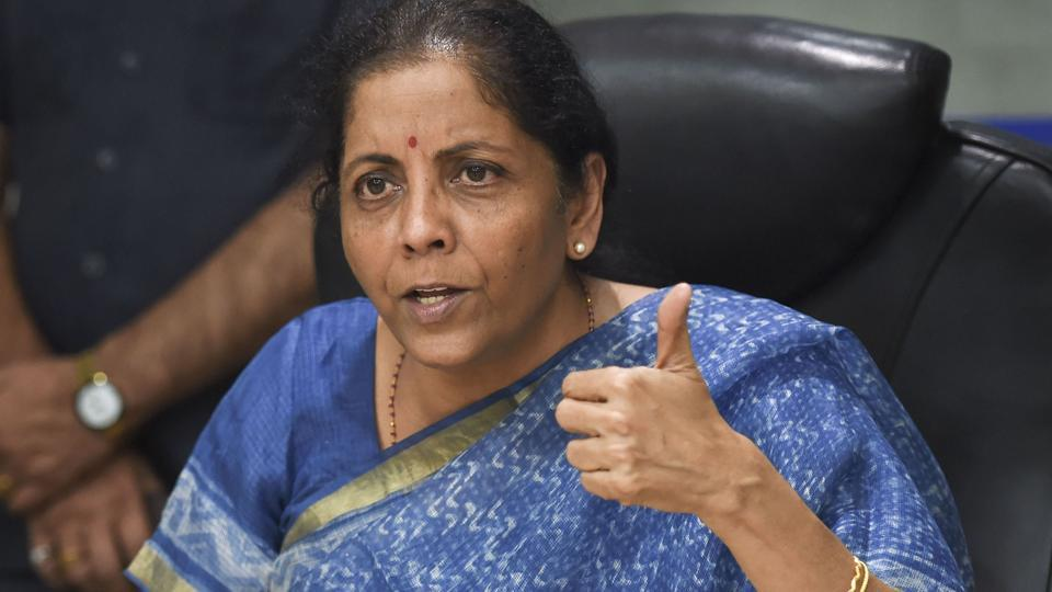 Finance Minister Nirmala Sitharaman addresses the media following a meeting with CMDs of Public Sector Banks in New Delhi, Monday, Oct. 14, 2019.