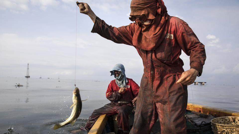 "Fishermen from Venezuela's state-run oil firm PDVSA, catch bass known as ""robalo"" near La Salina crude oil shipping terminal, on Lake Maracaibo near Cabimas. Nobody lives as closely with the environmental fallout of Venezuela's collapsing oil industry as the fishermen who scratch out an existence on the blackened, sticky shores of Lake Maracaibo. Villagers say they first noticed oil lapping ashore when the petroleum industry's downturn began under the late President Hugo Chavez.  (Rodrigo Abd / AP)"