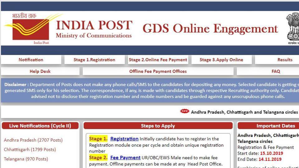 India Post has released notification for recruitment of Gramin Dak Sevaks (GDS) in Andhra Pradesh, Telangana, and Chhattisgarh circles.