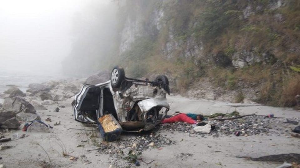 The accident in Tehri Garhwal happened after the driver lost control of the car and it plunged into a 300m deep gorge, said police.