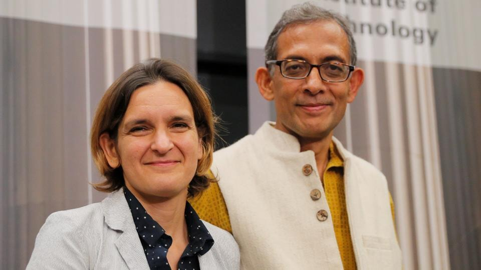 Abhijit Banerjee and Esther Duflo, two of the three winners of the 2019 Nobel Prize in Economics at a press conference at the Massachusetts Institute of Technology (MIT) in Cambridge, Massachusetts on Monday.