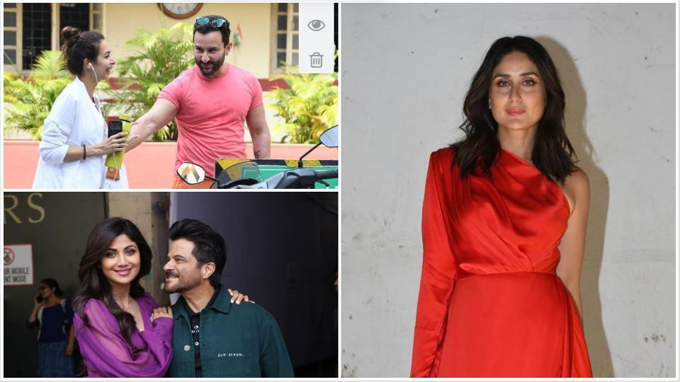 Malaika Arora seen with Saif Ali Khan at a gym, Kareena Kapoor at her radio show sets, and Anil Kapoor with Shilpa Shetty.