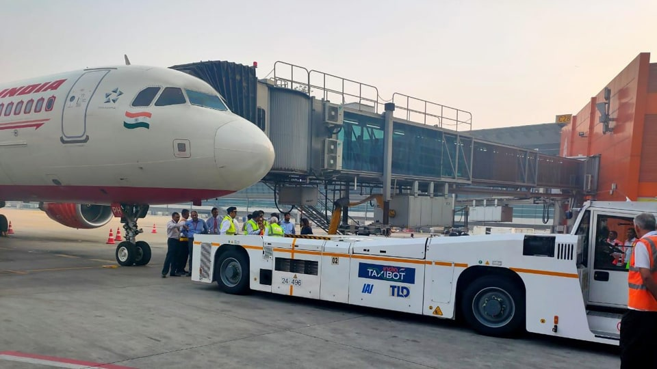 Air India used a TaxiBot on an Airbus 320 with passengers onboard to bring the aircraft to the runway on Tuesday, October 15, 2019.