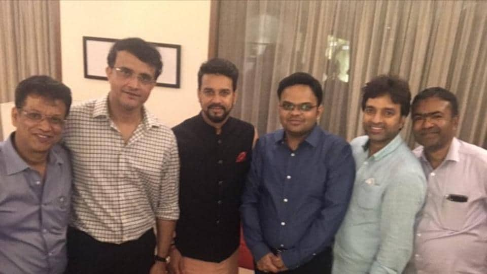 Sourav Ganguly with his new BCCI team.