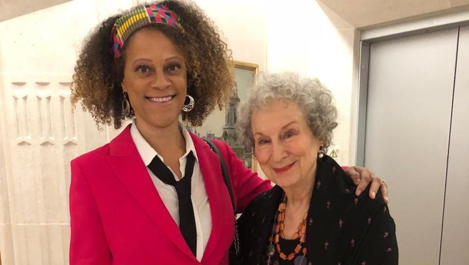 Margaret Atwood and Bernardine Evaristo share Booker Prize for Fiction.
