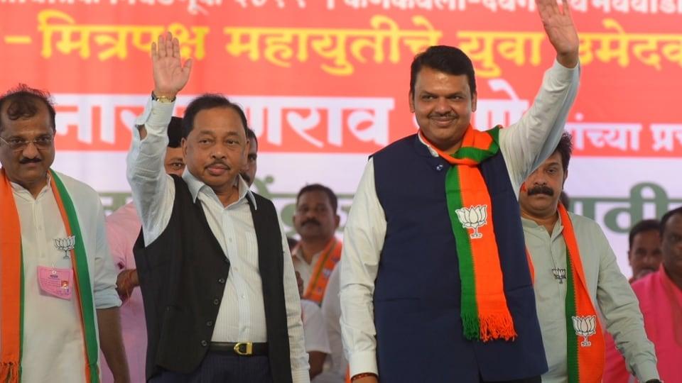 Maharashrta Chief minister Devendra fadnavis and BJP Rajya sabha member Narayan Rane during maharastra swbhiman paksha merge into BJP at Kankavli.