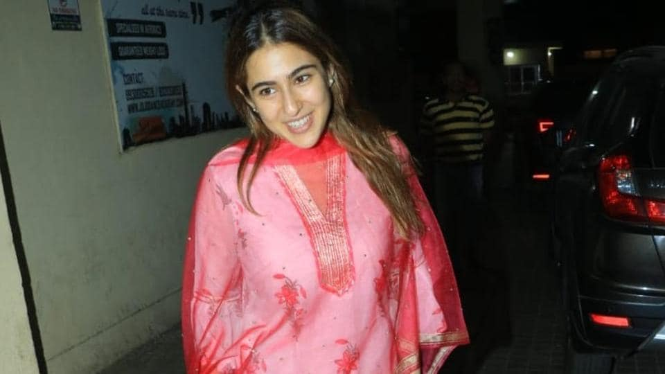 Sara Ali Khan was spotted in a pink and white traditional kurta set.