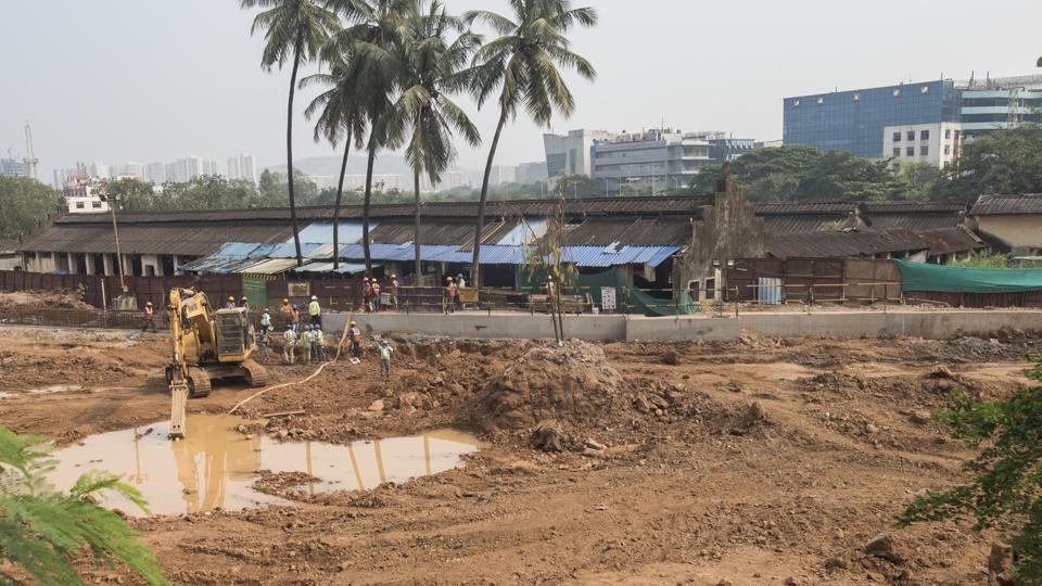 Ongoing work for Metro-3 car shed  At Prajapurpada, Aarey colony in Mumbai, on Monday, October 14, 2019.