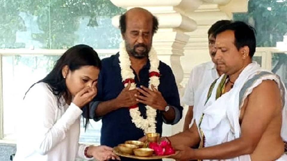 Actor Rajnikanth along with his daughter Aishwarya R Dahnush at Swami Dayanand Saraswati ashram at Rishikesh prior to leaving for Badrinath-Kedarnath pilgirmage in Garhwal Himalayas.